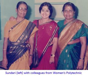 sundari with colleagues with caption