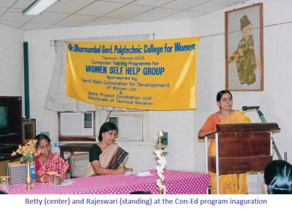 Betty & Rajeshwari at the inaugration of a con-ed program-captioned