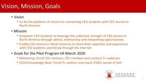 CEGAANA Student Mentoring Program-goals